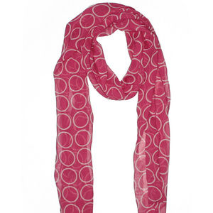 Accessories - Sheer fashion Scarf Bright Pink with white circles